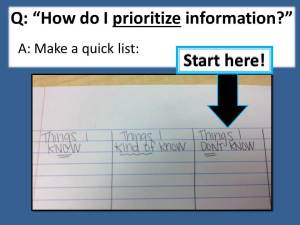 Prioritize information.